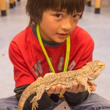 boy holding lizard