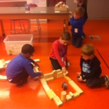 young children building at science camp
